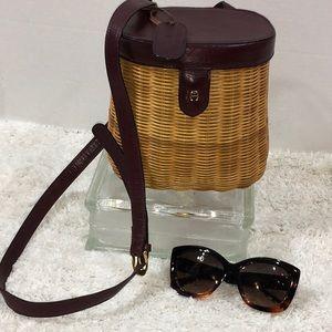 Aigner vintage woven fishing basket crossbody bag